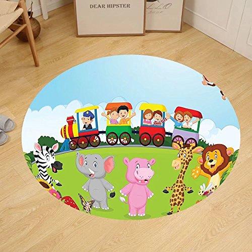 Gzhihine Custom round floor mat Cartoon Kids Nursery Design Happy Children on a Choo Choo Train with Safari Animals Artwork Bedroom Living Room Dorm Multicolor