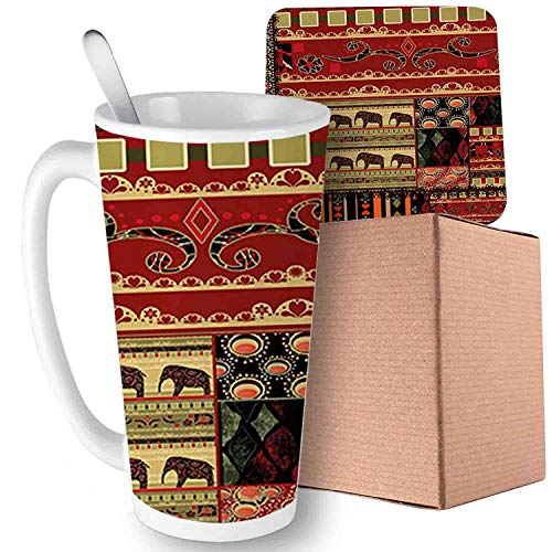 Patchwork Asian with Elephants and Cultural Ancient Motifs, Red Green Black;Ceramic mug with Spoon & Coaster Creative Morning Milk Coffee Tea Porcelain 16oz gifts for family