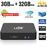 Android 7.1 TV Box U2C X Super Amlogic S912 Octa Core 3GB RAM 32GB ROM 64 Bit Smart TV Box Support 4K 3D H.265 Dual Band WiFi 2.4GHz/5GHz 2017 Model Media Player