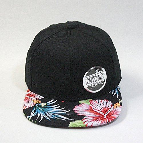 Premium Floral Hawaiian Cotton Twill Adjustable Snapback Hats Baseball Caps (Hawaiian/Black/Black Flat) by Vintage Year (Image #1)