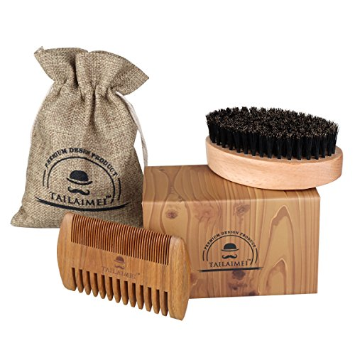 Beard Brush & Beard Comb Kit -TailaiMei 100% Natural Boar Bristle and Handmade Beard Comb Set for Stylish Men- Great for Facial Hair Care and Grooming Beards & Mustache - - Beard Stylish Men For