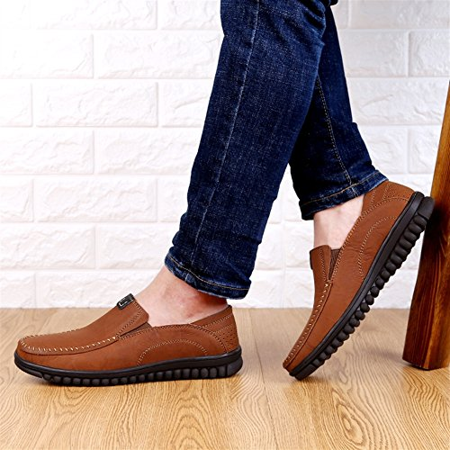 Amazon.com | SK Studio Mens Leather Casual Slip-On Loafer Slipper | Loafers & Slip-Ons