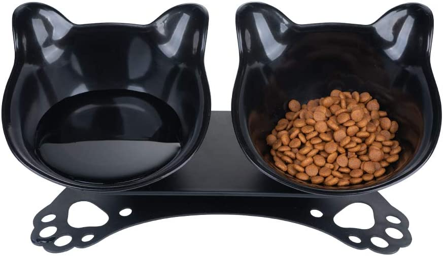Pantula Cat Bowls - Tilted cat Food Bowls - Raised cat Food Bowl Pet Double 15° Slanted cat Bowls Elevated with Non-Slip Rubber Base Stand for cat Dish (Black)