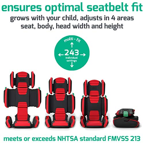 51V0GuIJOJL - Hifold Fit-and-fold Highback Booster Seat, Racing Red – Adjustable Highback Booster Car Seat For Everyday, Carpooling And More – Foldable Booster Seat For Travel
