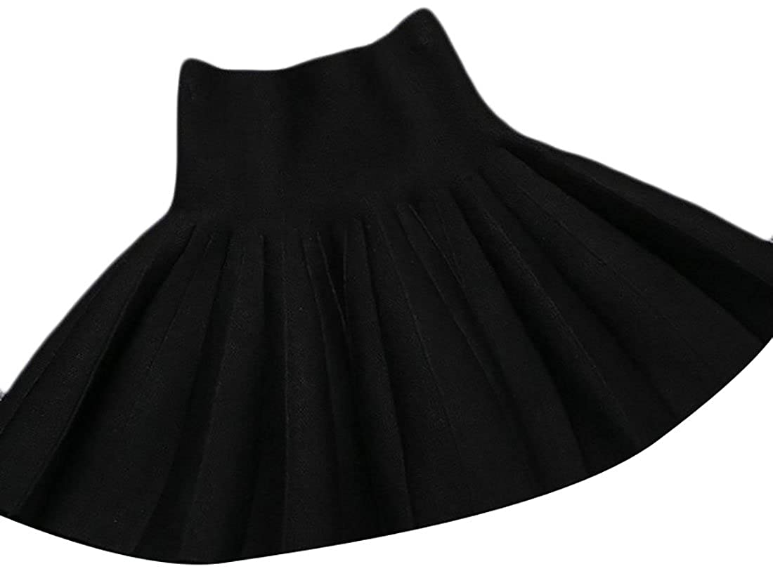Papijam Girls Classic Pleated Knitted Elastic Waist Swing Ruched Skirts Black 5T
