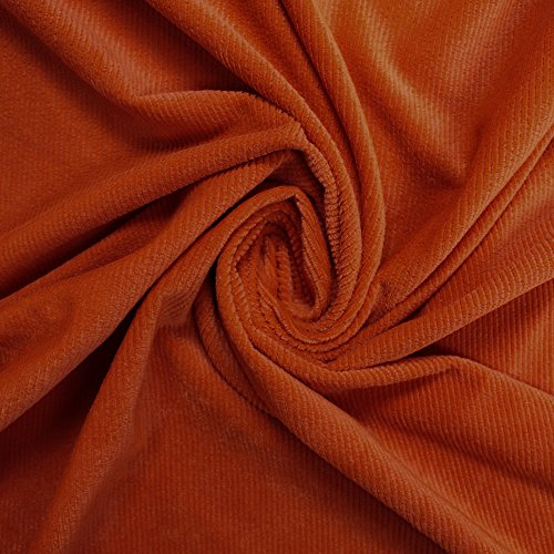 (Solid Colored Stretch Corduroy Ribbed Fabric by the Yard or Sample Swatch (Yard, Orange))