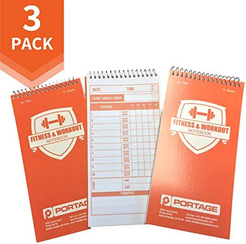 """Portage Fitness and Workout Notebook – 4"""" x 8"""" Sturdy Exercise Journal for Planning and Tracking Workouts to Achieve Your Fitness Goals – 140 Pages (3 Pack)"""