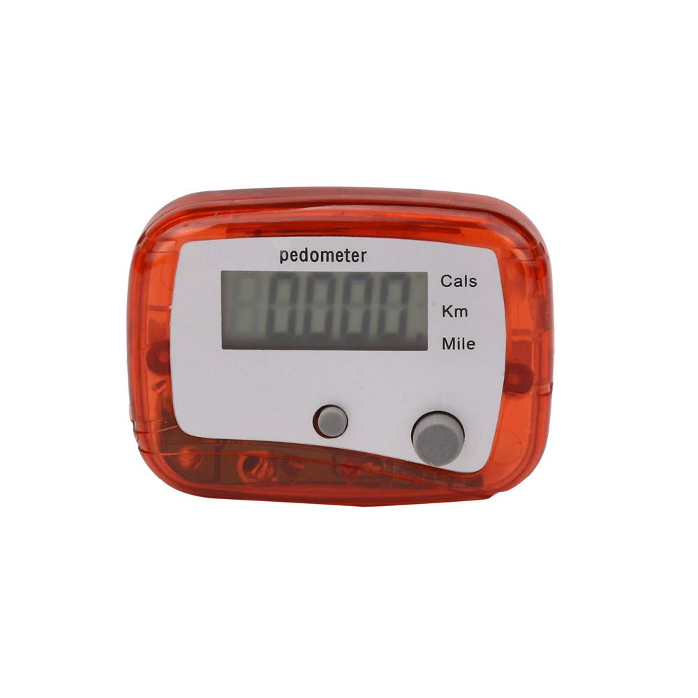 Start Digital LCD Light Portable Waterproof Pedometer Multifunction for Run Step Walking Distance Calorie Counter (Two-Button Red)