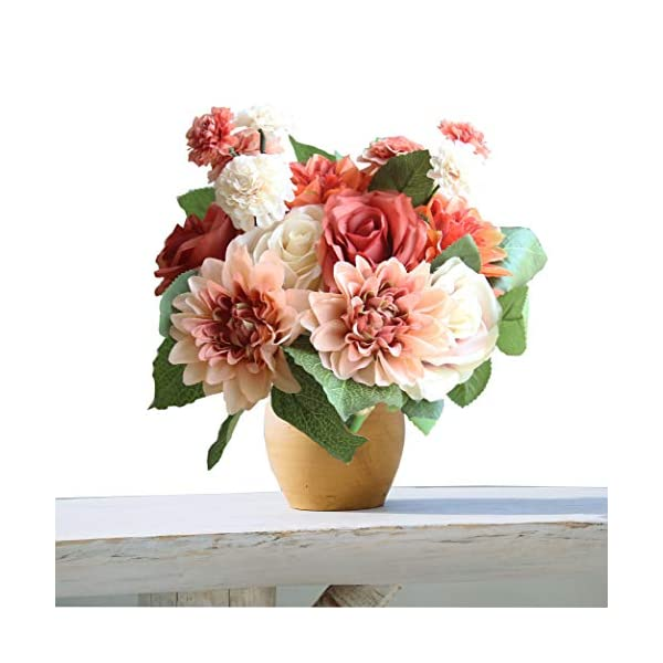cn-Knight Artificial Flower 2 Bunches 12″ H Silk Bouquet with 8pcs Rose Dahlia Daisy for Wedding Bridal Toss Bouquet Bridesmaid Home Décor Office Baby Shower Party Centerpieces(Coral&White)