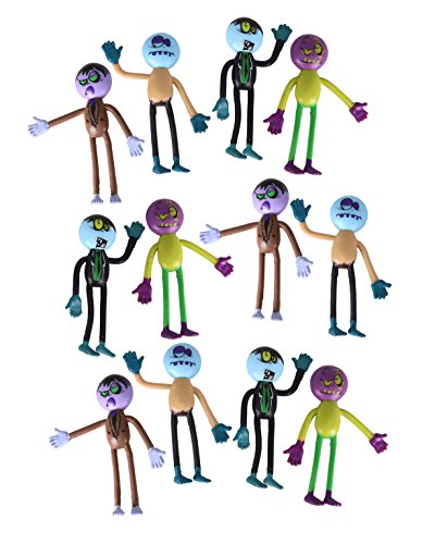 Bendable Zombies For Halloween And Party Favors - Pack Of 12 Assorted Action Figures (Zombie Games For Halloween Parties)