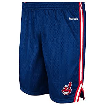 Cleveland Indians Navy Reebok Rookie Mesh Shorts (Large)