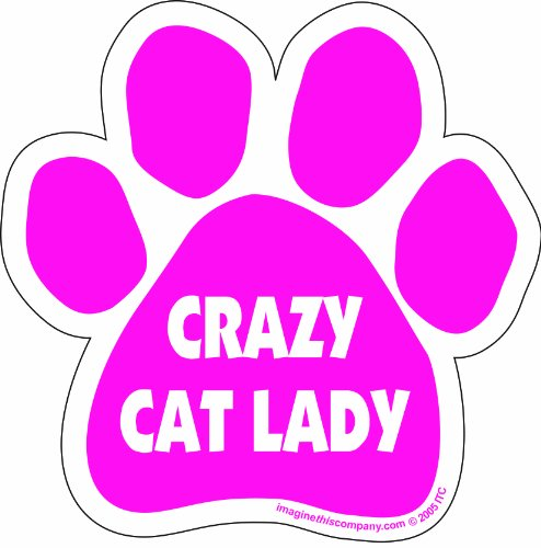 Car Magnet- Paw- Crazy Cat Lady- Pink- 5.5