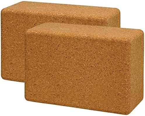 "Volcano Cork Yoga Block 2&1 Pack Set-100% Natural Cork from Europe, 4""&3"" Yoga Block Non-Slip&Anti-Tilt for Women| Men, Lightweight, Odor-Resistant and Moisture-Proof, Perfect Yoga Equipment"