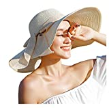 Womens Big Bowknot Straw Hat Beach Cap Beachwear Wide Floppy Hat Foldable Roll