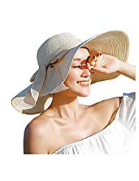 Womens Big Bowknot Straw Hat Beach Cap Beachwear Wide Floppy Hat Foldable Roll up Big Brim Hats Sun Hat UPF 50+ Party Garden Travel