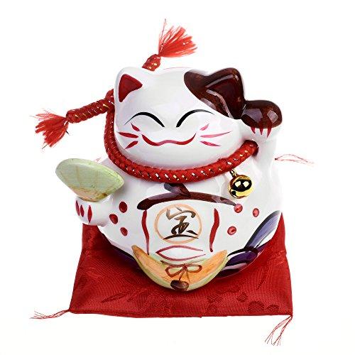 """Beautyflier Kloud City 5"""" Ceramic Lucky Cat Money Bank Organizer Maneki Neko Coin Piggy Bank for Fortune Home Décor"""