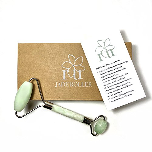 Jade Roller   Real Natural Jade Stone Facial Massager   Welded Construction   Smooth Double Roller   Anti-Aging, Skin Toning, Face Slimming, Lymphatic Drainage Enhancing Skincare Massage Tool   by ru