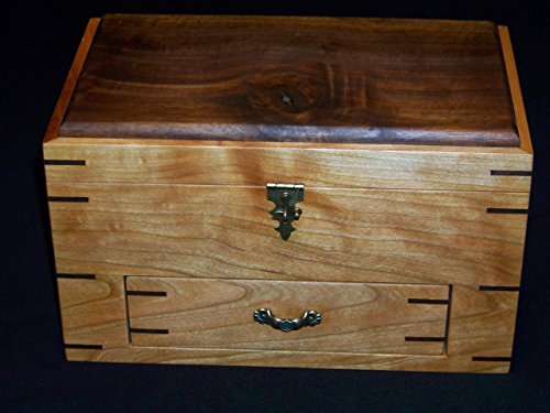 Cherry/Walnut Jewelry/sewing Box With Drawer Gift for Her (Cherry Sewing)