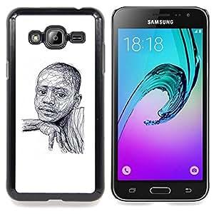 Jordan Colourful Shop - Black Boy African American White Sketch For Samsung Galaxy J3 - < Personalizado negro cubierta de la caja de pl??stico > -