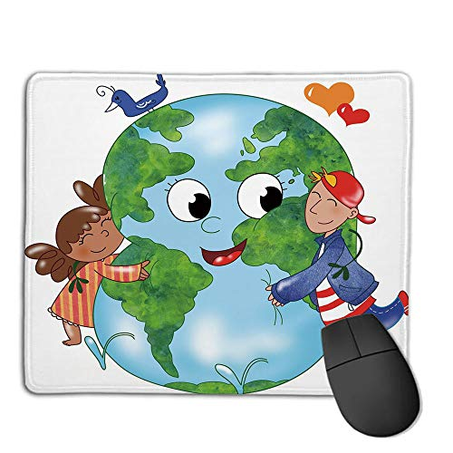 - Mouse Pad,Stitched Edges, Waterproof, Ultra Thick 3mm, SilkyEarth,Two Cute Kids Hugging Happy Planet Earth Bird and Hearts Embracing in Cartoon Style Decorative,Multicolor,Applies to Games,Home, SCH