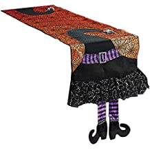 Halloween Spider Web Table Runner With Dangling Legs Witch Hat Decoration