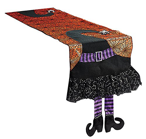 Halloween Table Runners (Halloween Spider Web Table Runner With Dangling Legs Witch Hat Decoration)