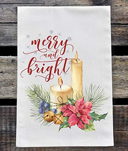 Kitchen Dish Towel - Christmas Flour Sack Towel - Merry and Bright Candle with Poinsettia and Pine Cones ()