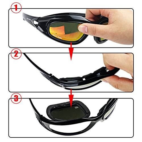 AULLY Motorcycle Riding Glasses Black Frame with 4 for