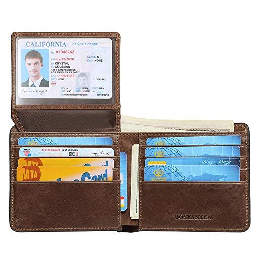 BOSTANTEN Genuine Leather Wallets for Men Bifold RFID Blocking Wallet with 2 ID Window ()