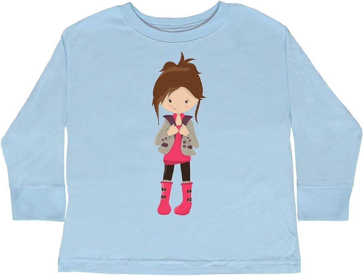 Brown Leggings Brown Hair Toddler Long Sleeve T-Shirt inktastic Fashion Girl