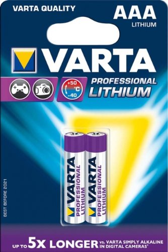 Lithium, Cylindrical, AAA, 80/x 12/x 120/mm /non-rechargeable Batteries Varta 2/x 1.5/V piles AAA Lithium 1.5/V/
