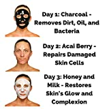 At Home Face Mask 3 Day Skin Detox Premium Face Mask Set - Detoxify Your Skin in 3 Days - Anti Aging At Home Spa Treatment - Includes Charcoal Mask, Acai Berry Mask, Honey and Milk Mask