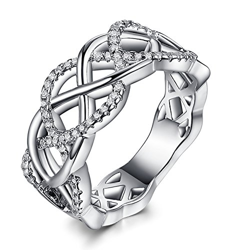 Trinity Knot Shank (Emsione White Topaz 925 Silver Plated Split Shank Ring for Women)