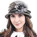 Women's Elegant Flower Wool Cloche Bucket Ridgy Bowler Hat 09-co20 (Mohair-Gray)