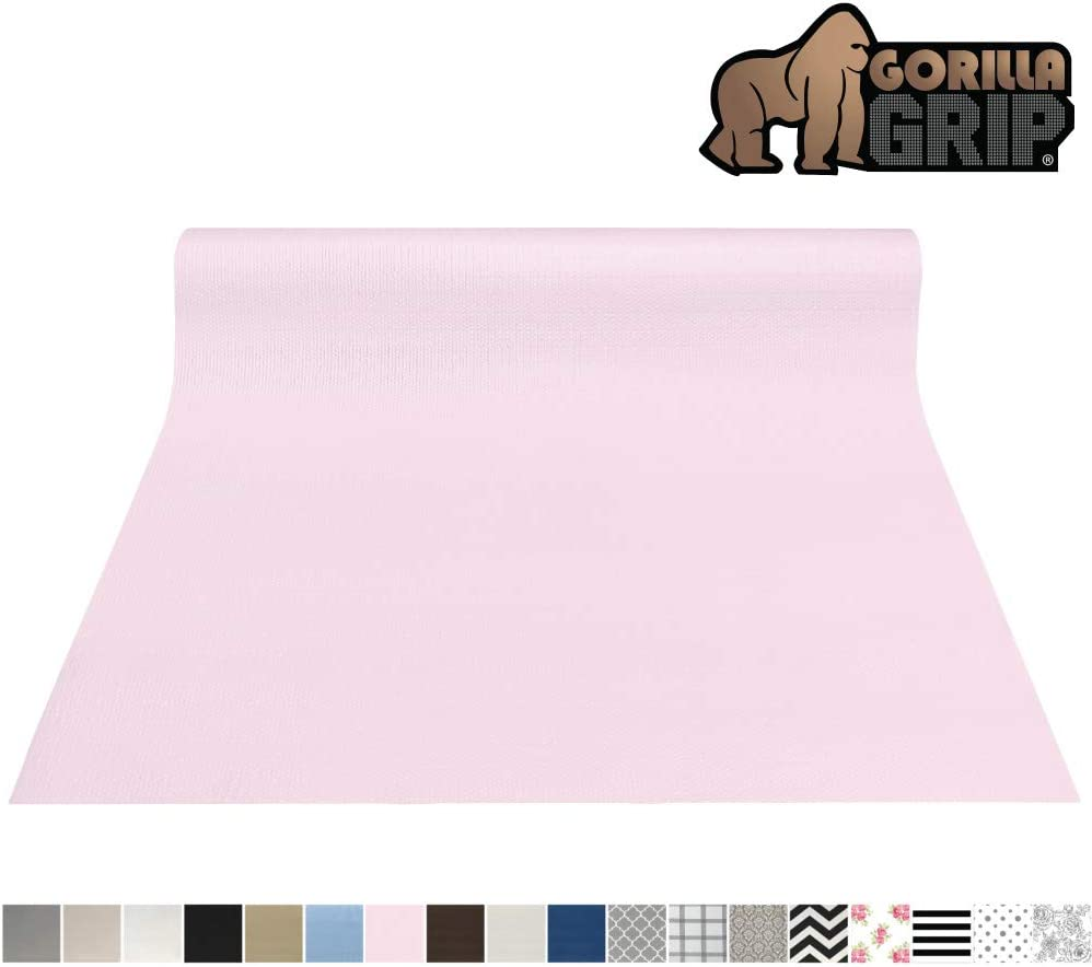 Gorilla Grip Original Smooth Top Slip-Resistant Drawer and Shelf Liner, Non Adhesive Roll, 12 Inch x 20 FT, Durable Kitchen Cabinet Shelves Liners for Kitchens Drawers and Desks, Light Pink