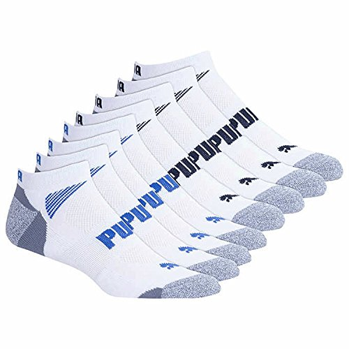 Puma Men's No show Sport Socks, Moisture Control, Arch Support (8 Pair) (Extended Size - Shoe Size (12-16), White)