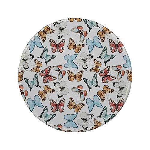 Non-Slip Rubber Round Mouse Pad,Butterflies,Various Colorful Butterflies Watercolor Style Print Wild Nature Bohemian Decor Decorative,Multi,11.8
