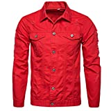 ZYooh Premium Men s Coat Autumn Winter Demin Jacket Tops Outwear (M, Red)