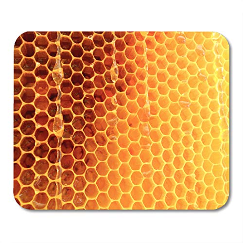 Emvency Mouse Pads Hexagon Wax Honeycomb from Bee Hive Filled Golden Honey Macro Photography Consisting of Beeswax Yellow Mousepad 9.5