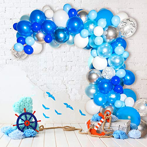 Bloonsy Blue Balloon Garland Kit | Balloon Arch Kit with Blue and White Balloons | 120 Pack | Silver Confetti, Navy Blue, Royal Blue Balloons | Blue and Silver Party Decorations