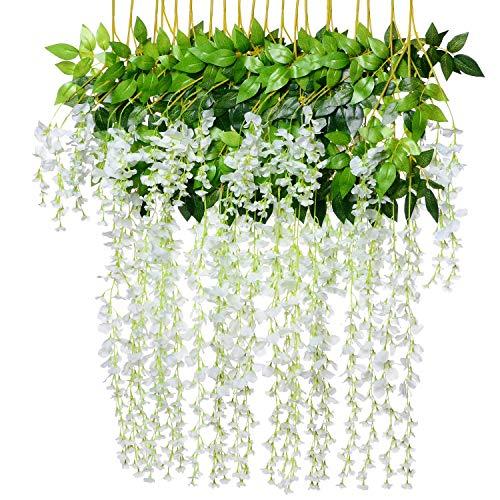 Combor 12pcs Artificial Fake Wisteria Vine Garland-GreenDec 3.6Ft/Piece Silk Wisteria Vine Ratta Hanging Flower for Home Garden Wedding Decor,(White)
