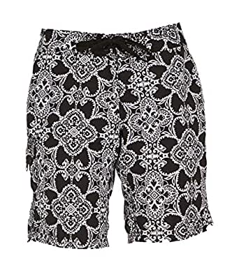 Kanu Surf Women's UPF 50+ Quick Dry Active Prints II Swim Boardshort, Black, 6