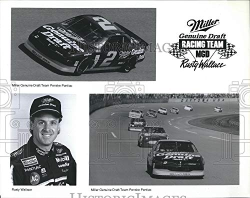 - Vintage Photos Press Photo NASCAR Driver Rusty Wallace and his Miller Genuine Draft car