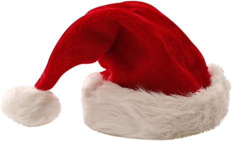 Adult Happy Holidays Santa Claus Hat Red Velvet Wht Trim Stitched Letters NEW