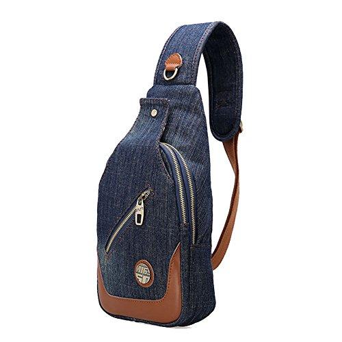 Genda 2Archer de Manera Unisex Jean Bolso del Pecho de la Lona, Bolso de Hombro (azul claro) estilo nostálgico