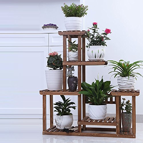 Balcony Flower Frame Solid Wood Folding 4 - Storey Living Room Hanging Blue Indoor Green Radish Plant Flower Rack 852596cm ( Color : Carbon baking color ) by LITINGMEI Flower rack