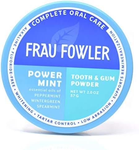 POWER MINT Tooth Powder- Botanically Clean, Teeth-Whitening, Remineralizing, Fluoride Free, Gluten Free, SLS Free -Restores Enamel and Freshens Breath, 2 oz