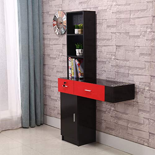 BarberPub Beauty Salon Spa Station Hair Styling Desk Table Salon Shop Furniture Multi-function Desk Wall Mount Storage Cabinet Shelf with 2 drawers 1 big storage at the bottom,3 shelves (red-black)
