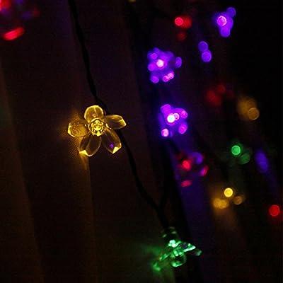 Bescha Special Solar Christmas Lights(Multi-color). 22ft 50 LED Waterproof Sakura Light. Outdoor/Indoor Xmas Flower Light Show with Wireless Charging(1 PACK).