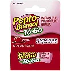 Pepto Bismol To Go 5 Symptom Digestive Relief Medicine, Upset Stomach and Diarrhea Relief, Cherry Flavor, 12 Chewable Tablets